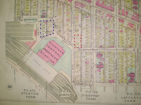 1911 Baist Map of the Roosevelt Park area. Area 1 of excavation in RED Area 2 in Blue